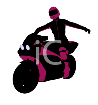 Royalty Free Clipart Image of a Female Biker