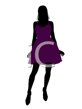 Royalty Free Clipart Image of a Girl in Purple Dress