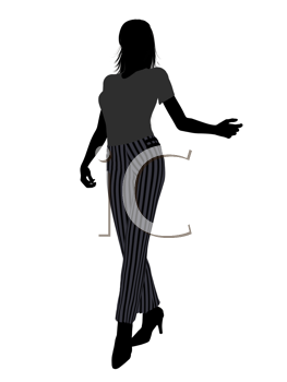 Royalty Free Clipart Image of a Woman in Striped Pants