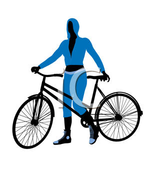 Royalty Free Clipart Image of a Female Cyclist