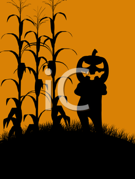 Royalty Free Clipart Image of a Jack-o-Lantern Scarecrow in a Corn Field