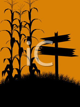 Royalty Free Clipart Image of an Autumn Scene With Cornstalks