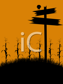 Royalty Free Clipart Image of a Cornfield With a Sign and Bird