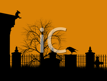 Royalty Free Clipart Image of a Cemetery With a Mouse and Bird