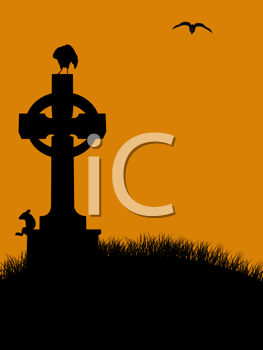 Royalty Free Clipart Image of a Cemetery Cross With Birds and a Mouse