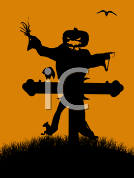 Royalty Free Clipart Image of a Halloween Scarecrow and Cross