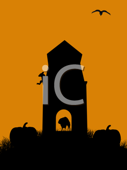 Royalty Free Clipart Image of a Monument and Pumpkins