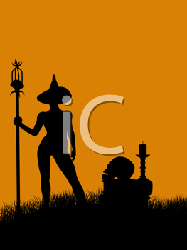 Royalty Free Clipart Image of a Witch With Books, a Skull and a Candle
