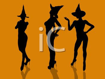 Royalty Free Clipart Image of Three Witches