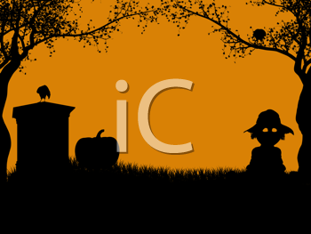 Royalty Free Clipart Image of a Monument Pumpkin and Scarecrow