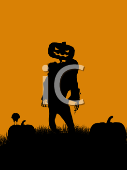 Royalty Free Clipart Image of a Jack-o-Lantern Scarecrow