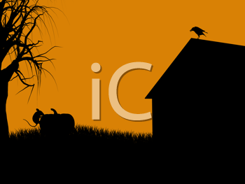 Royalty Free Clipart Image of a Building, a Bird and a Cat on an Orange Background