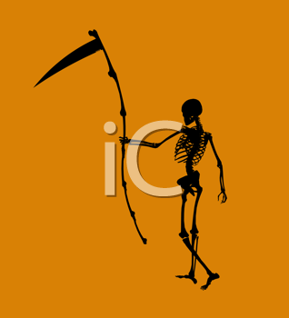 Royalty Free Clipart Image of a Skeleton an Scythe