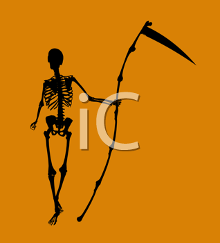 Royalty Free Clipart Image of a Skeleton on Orange