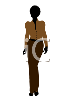 Royalty Free Clipart Image of a Woman in Brown Clothes