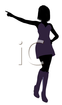 Royalty Free Clipart Image of a Girl in Purple
