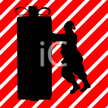 Royalty Free Clipart Image of Santa Pushing a Big Container