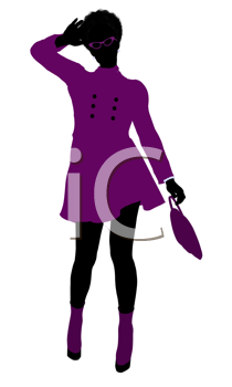 Royalty Free Clipart Image of a Girl in a Purple Coat
