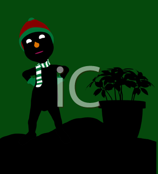 Royalty Free Clipart Image of a Guy in a Toque Beside a Poinsettia