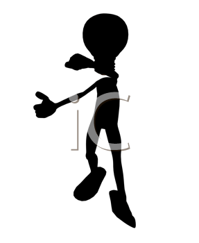 Royalty Free Clipart Image of a Stick Figure With a Light Bulb Head
