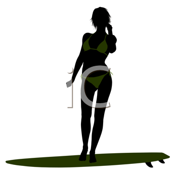 Royalty Free Clipart Image of a Woman on a Surfboard