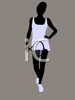 Royalty Free Clipart Image of a Tennis Player