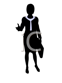Royalty Free Clipart Image of a Woman in a Business Suit With a Briefcase