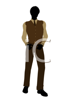 Royalty Free Clipart Image of a Silhouetted Man in a Tie and Vest