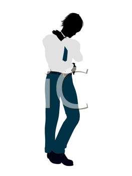 Royalty Free Clipart Image of a Young Man in a Shirt and Tie