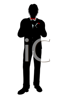 Royalty Free Clipart Image of a Man in a Tuxedo