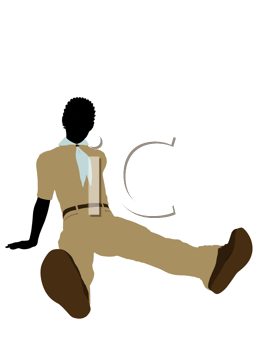 Royalty Free Clipart Image of a Boy Scout Silhouette
