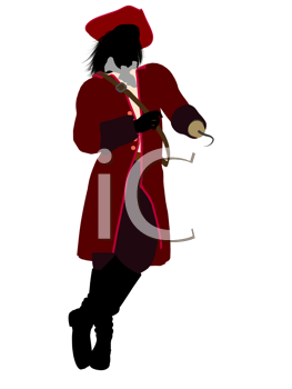 Royalty Free Clipart Image of a Pirate With a Hook Hand