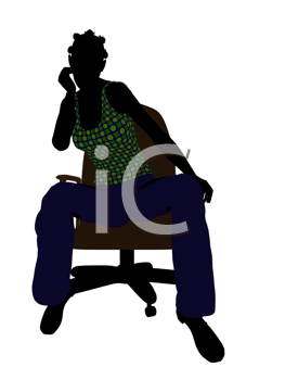 African American casual dressed female sitting on a chair silhouette on a white background