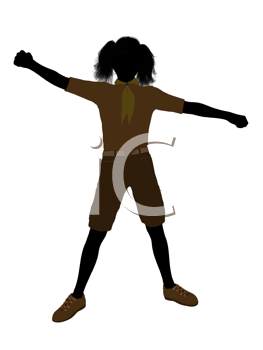Royalty Free Clipart Image of a Girl Standing With Her Arms Out