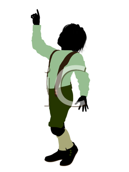 Royalty Free Clipart Image of a Little Boy in Lederhosen