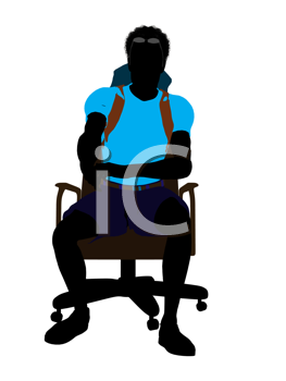 Royalty Free Clipart Image of a Man Wearing a Backpack Sitting on a Chair