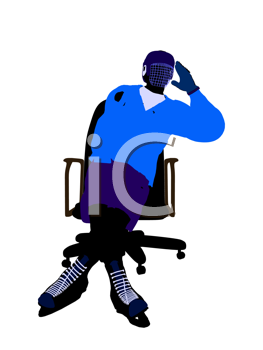 Royalty Free Clipart Image of a Hockey Player in a Chair