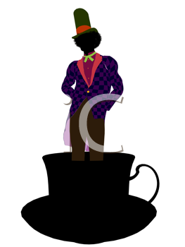 Royalty Free Photo of a Man Standing in a Teacup