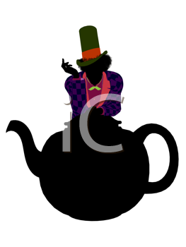 Royalty Free Clipart Image of a Man in a Hat on a Teapot