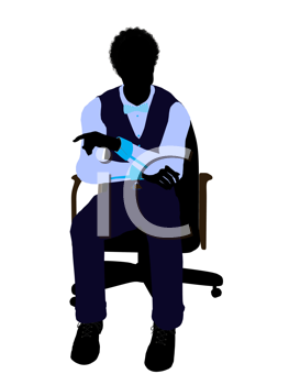 Royalty Free Clipart Image of a Man in an Office Chair