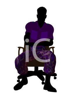 Royalty Free Clipart Image of a Man Wearing Camouflage Pants Sitting in a Chair