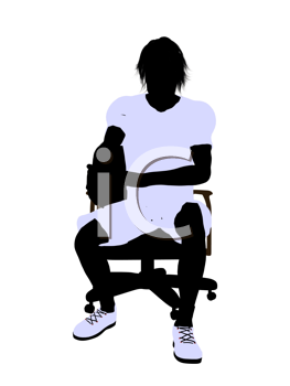 Royalty Free Clipart Image of a Tennis Player in a Chair