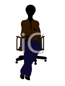 Royalty Free Clipart Image of a Woman in an Office Chair