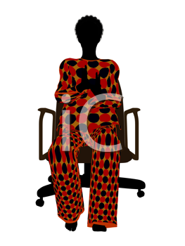 Royalty Free Photo of a Woman in Pyjamas Sitting in a Chair