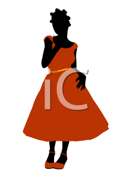 Royalty Free Clipart Image of a Girl in a Formal Dress