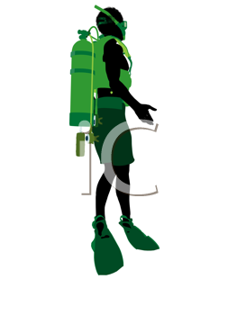 African american male scuba diver art illustration silhouette on a white background