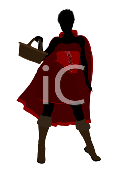 Royalty Free Clipart Image of a Woman in a Red Cape