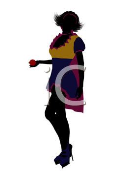 Royalty Free Clipart Image of a Girl Dressed Like Snow White