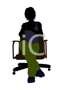 Royalty Free Clipart Image of a Young Person in an Office Chair