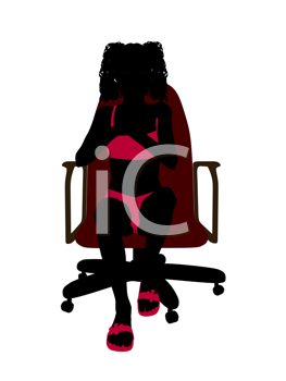 Royalty Free Clipart Image of a Girl in a Bikini Sitting in a Chair